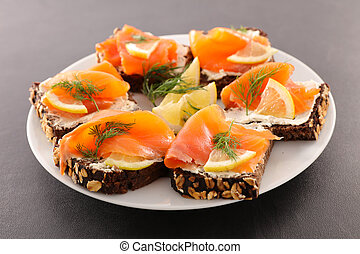 assorted canape with cheese and salmon