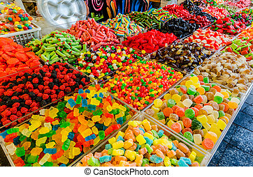 Assorted candy for sale in the Mahane Yehudah Souk market in Jerusalem, Israel