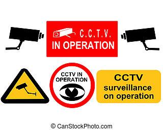 assorted CCTV surveillance signs
