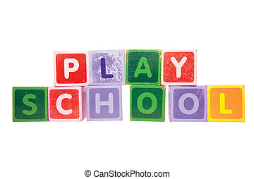 assorted childrens toy letter building blocks against a white background that spell playschool with clipping path