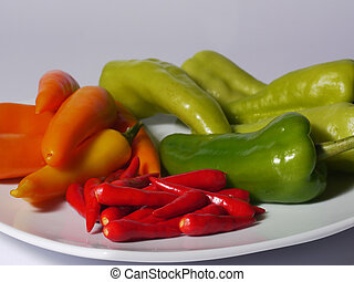 Assorted chili peppers on a white plate