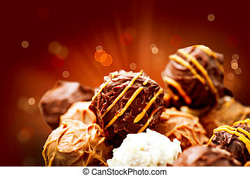 Assorted Chocolate Candies. Sweets. Candy Border Design