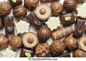 chocolates - assorted chocolates confectionery on white...
