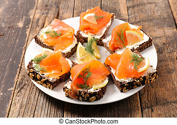 assorted christmas canape with salmon