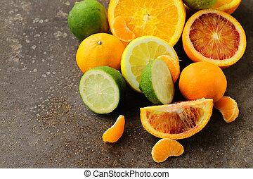 Assorted citrus - lemon, manadarin, orange and lime