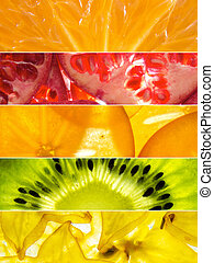 assorted collage of back lit fruit