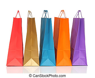 Assorted colored shopping bags over