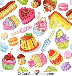 Assorted colorful desserts, pastries, sweets, candies, cupcakes. Seamless vector pattern isolated on white background.