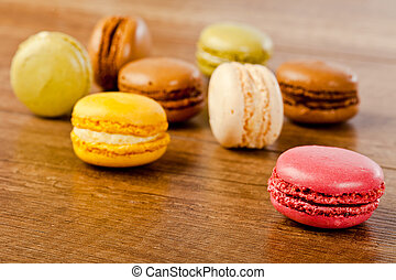 assorted colorful french macarons