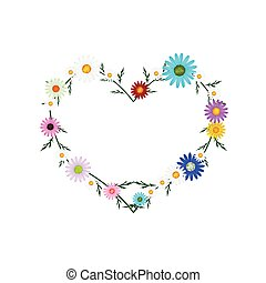 Assorted Colors Daisy Flowers in Heart Shape