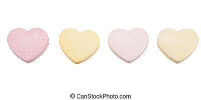candy hearts isolated - Assorted colors of blank candy...