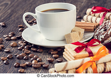Assorted cookies and cup of coffee