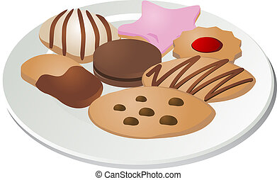 Assorted cookies on a plate isometric illustration