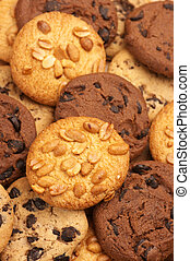 Heap of assorted cookies, full frame.