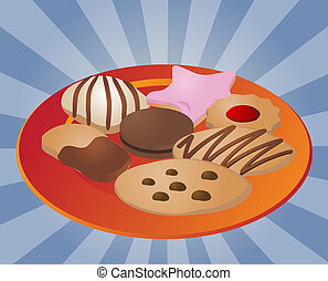 Assorted cookies on plate - Assorted cookies and fancy sweet...
