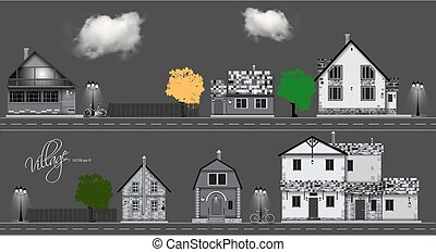 Assorted cute houses collection. Couds, bicycle ,road vector
