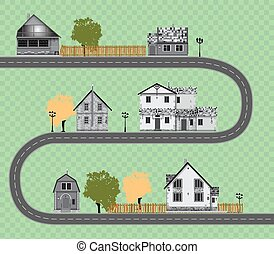 Assorted cute houses collection on transparent background.road vector