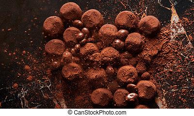 Assorted dark chocolate truffles - Homemade dark chocolate ...