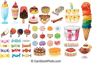 Assorted foods, sweets and desserts on white