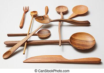 Assorted different kitchen wooden utensils cutlery