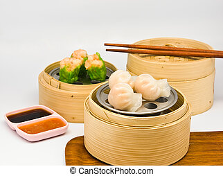 Assorted Dim Sum - Chinese steamed dimsum in bamboo...