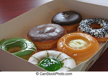 Assorted variet of donuts in a box