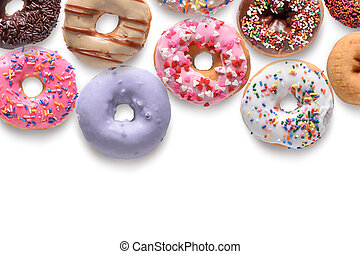 Assorted donuts isolated on white background