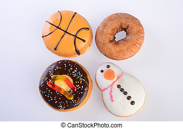 Assorted donuts  on a background
