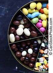 Assorted dragees candies in a box