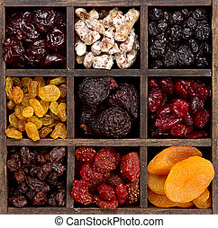 Assorted dried fruit in a printers box - Assorted dried...