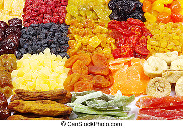 assorted dried fruits - Background made of assorted dried...