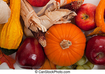 Assorted fall vegetables as a background - Fall vegetables...