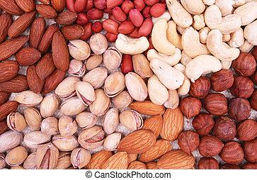 Assorted filbert, peanut, pistachios, almonds and hazelnuts...