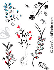 a set of assorted flower designs
