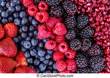 Assorted Fresh Berries and Pomegranate Seeds - Fresh organic...