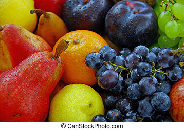 Tempting selection of fresh, ripe, colourful fruit