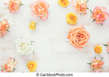 Assorted fresh roses heads