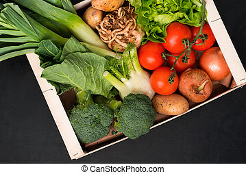 Assorted Fresh Vegetables in a Wooden Box