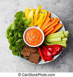 Assorted fresh vegetables with dip Healthy eating