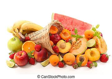 assorted fruit isolated on white background