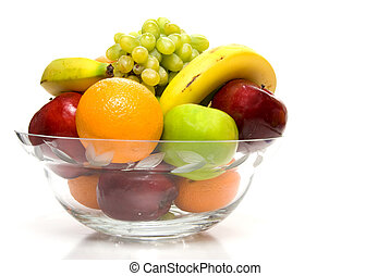 Assorted Fruit - Assorted fruit in a large crystal bowl.