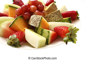 Plate of assorted fruit.