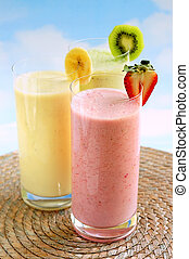 Assorted fruit smoothies - Assorted fruit and berry...