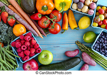 Assorted Fruits and Vegetables Background - Variety of fresh...