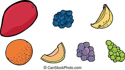 Assorted Fruits - Isolated illustrations of mango, ...