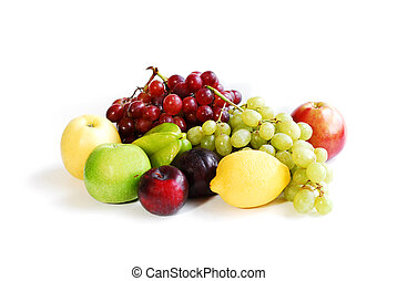 Assorted fruits on white background