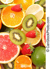 assorted fruits, top view