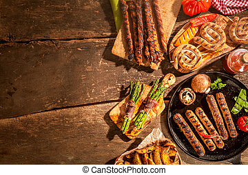 Assorted grilled food from a summer barbecue