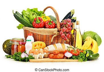 Assorted grocery products isolated on white - Assorted...