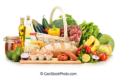 Assorted grocery products isolated on white - Assorted ...